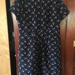 LOFT Dresses - LOFT PLUS LEAFED V-NECK FLARE DRESS size 16